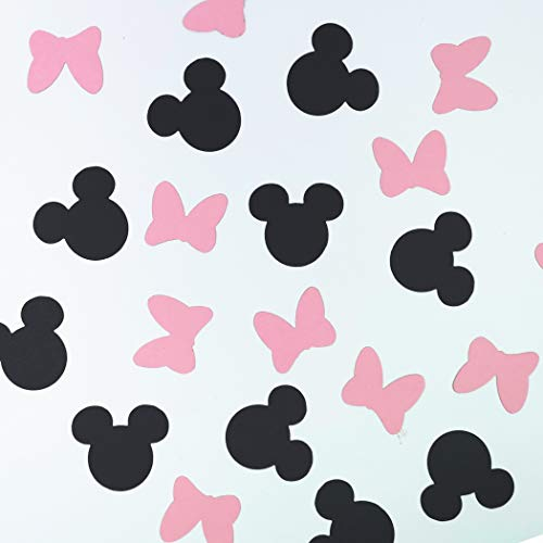 100 Counts Minnie Mouse and Bowtie Table Scatter/Paper Confetti for Baby Shower Kid's Birthday Party Supplies (Black and Pink) -
