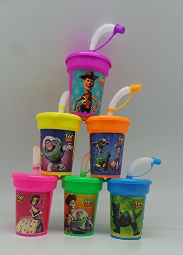 6 Toy Story Buzz, Woody Stickers Birthday Sipper Cups with lids Party Favor Cups by Neon for $<!--$11.99-->