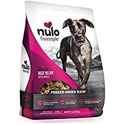 Nulo Freeze Dried Raw Dog Food For All Ages & Breeds: Natural Grain Free Formula With Ganedenbc30 Probiotics For Digestive & Immune Health - Beef Recipe With Apples - 5 Oz Bag