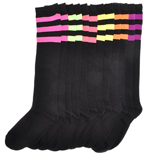 Angelina 6-Pair NEON Referee Knee High Socks #2539BN_9-11