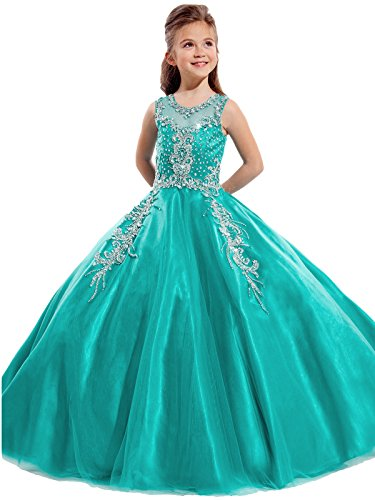 Aisha Girls' Jewel Beading Ball Gown Girls Pageant Dress Christmas 12 US Green (Christmas Pageant Dresses)