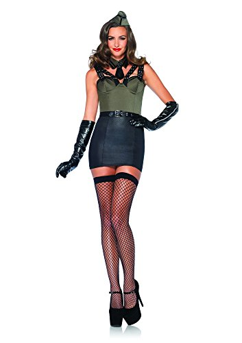 Leg Avenue Women's 3 Piece Major Bombshell Military Costume, Green, Small
