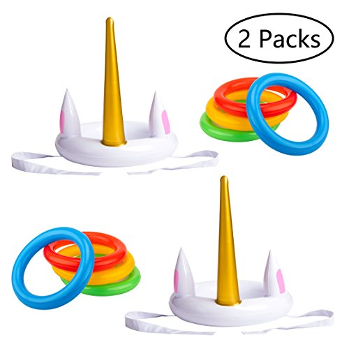 luck sea Unicorn Inflatable Ring Toss Game - Pool Party Toys Supplies Favors Decorations by luck sea