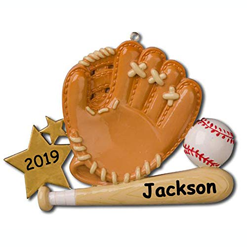 Personalized Baseball Player Glove with Baseball Bat and Baseball Gold Star Detail Hanging Christmas Ornament with Custom Name and Date