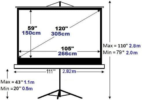 120 cm trípode proyección proyector Pantalla 16: 9 Matt Gris ...