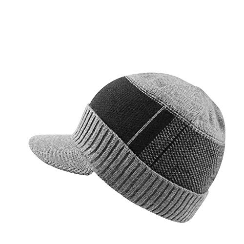 XIAOHAWANG Winter Men Hat Knit Cable Visor Beanie with Fleece Lining Patchwork Stripe Newsboy Cap with Brim for Outdoor Sport (Grey) (Beanie Visor Men)