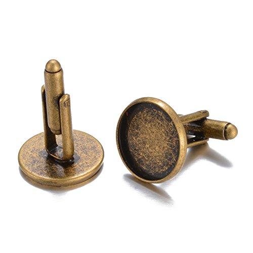 Pandahall 20pcs Brass Cufflinks Cuff Button Cabochon Tray Bezel Cufflink Blanks Antique Bronze Tray: 16mm