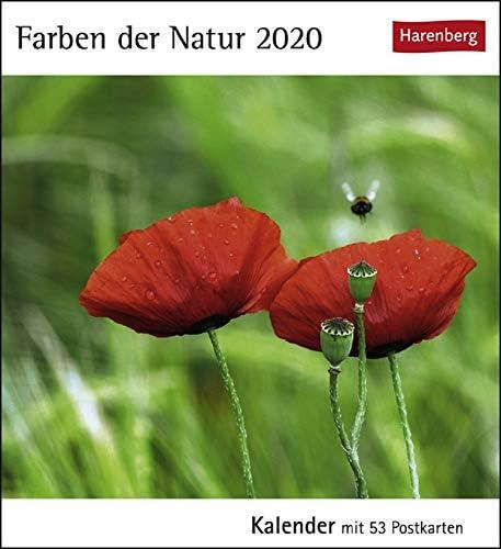 Postkartenkalender Farben der Natur - Kalender 2020 - Harenberg-Verlag - mit 53 heraustrennbaren Postkarten - 16 cm x 17,5 cm