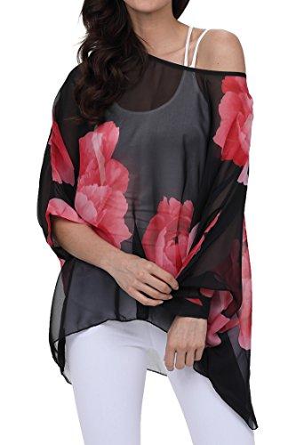 - Womens Dolman Blouse Off Shoulder Floral Tops 83-Rose red
