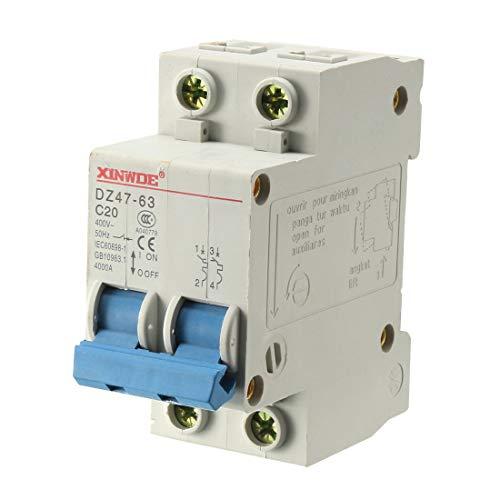 - uxcell 2 Poles 20A 400V Low-voltage Miniature Circuit Breaker Din Rail Mount DZ47-63 C20