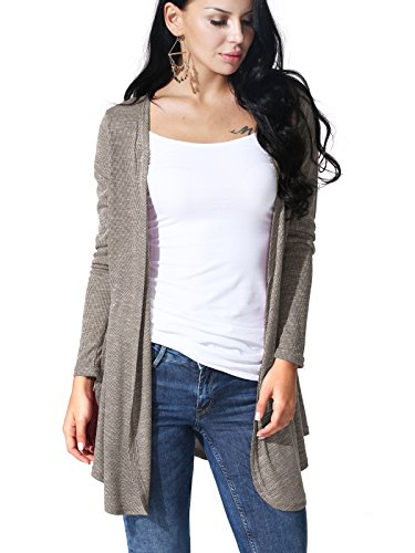 JayJay Women Open Front Casual Boyfriend Mocha Long Sleeve (Jersey Print Turtleneck)