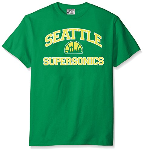 NBA Seattle Supersonics 1975-95 Men's Majestic Athletics Heart and Soul Short Sleeve Crew Neck T-Shirt, Large, Kelly Green