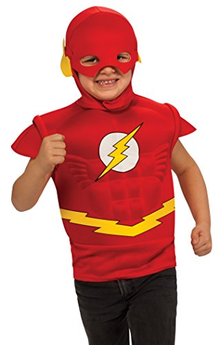 Flash Muscle Chest Costume Shirt with Cape and Headpiece