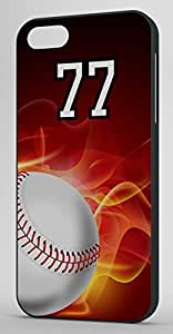 Flaming Baseball Sports Fan Player Number 77 Black Plastic Decorative iphone 5c Case