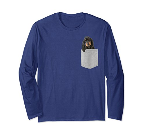 Unisex Dog in Your Pocket Black and tan Coonhound Longsleeved T-shi Small Navy (Sleeved Hound T-shirt Long)