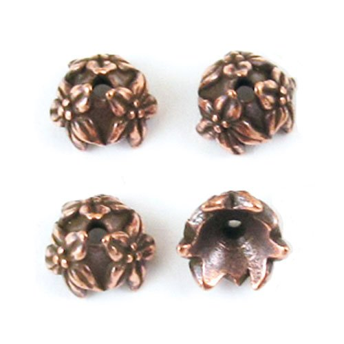 Antiqued Copper Plated Lead-Free Pewter Jasmine Bead Caps 7mm (4)