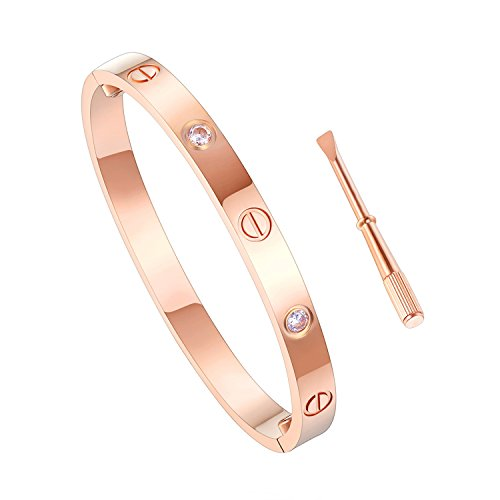 Z.RACLE Love Bangle Bracelet Stainless Steel with Screw - Best Gift for Love - 6.3IN Rose Gold CZ by Z.RACLE