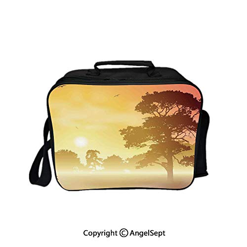 Compartment Lunch Bag for Men, Women,Majestic Old Big Tree Landscape in Intense Sun Beams Woodland Magical Scenery Red Yellow Brown 8.3inch,Lunch Cooler Bag with Shoulder Strap