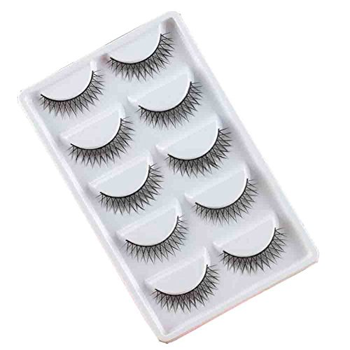dolly2u 5 Pairs Fine Natural Reusable Handmade Soft Curling False Eyelashes Thick Slim