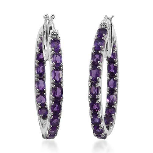 925 Sterling Silver Platinum Plated Oval Amethyst Inside Out Hoops, Hoop Earrings Cttw 5.9