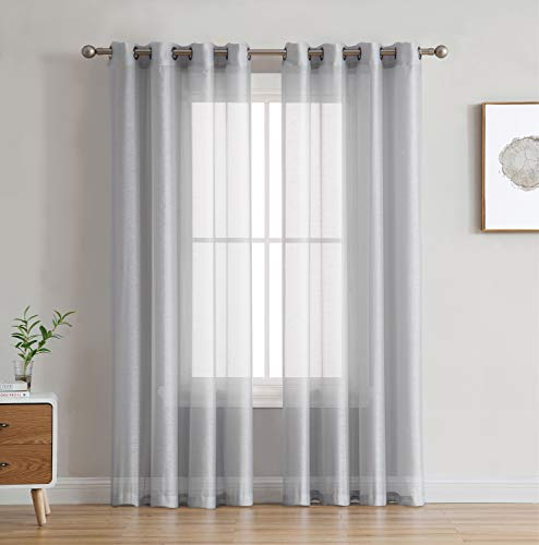 HLC.ME 2 Piece Semi Sheer Voile Window Curtain Grommet Panels for Bedroom & Living Room (54