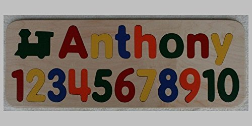 Name Puzzle with Numbers - Custom Personalized - Birthday Gift - Raised Letters - Educational Toy by J and P Wood Products