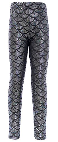 Scale Print (Girl's Glittery Shiny Little Mermaid Fish Scale Print Leggings Pants, Multi,XL)