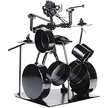 Modern Musician Drummer Band Iron Musician Statuette Rustic Jazz Drummer Metal Statues Art Sculpture Ornament for Home Office Decoration Birthday Gift Collection (3# Drummer)