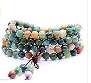 Yosoo Buddha Buddhist India Agate Prayer Mala Beads Bless Bracelet Necklace