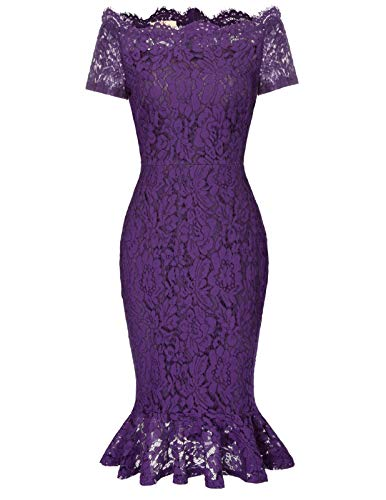 Women Full Lace Bodycon Cocktail Wedding Guest Dress L Purple