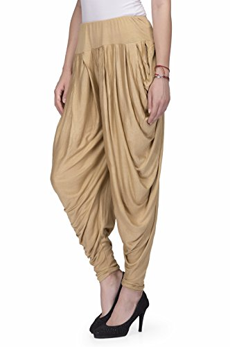 "Legis Blue Relaxed Comfortable Cotton Blend Dhoti Pants Yoga Fitness Active wear for Women Dance - Gold - Waist Relaxed 25"" & Stretched 34"""
