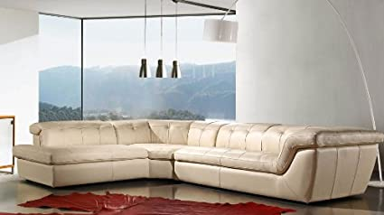 Ju0026M Furniture 397 Full Beige Italian Leather Sectional Sofa With Adjustable  Headrests