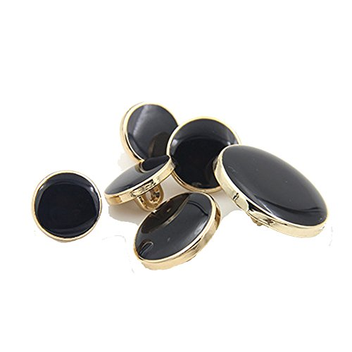 11 Mm Black Button - Urchart 6PCS Black Surface with Gold Rim Metal Button for Blazer Suits Coat (20mm)