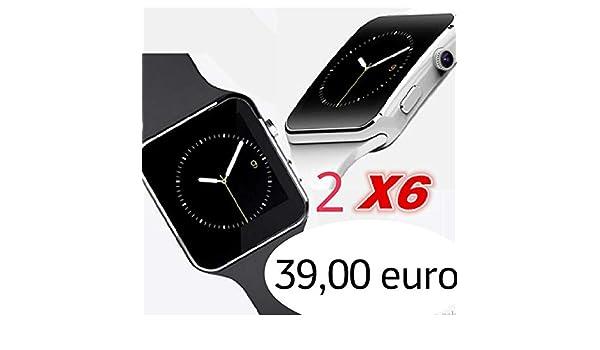 Pcjob 2 SMARTWATCH X6 (Blanco + Negro) Bluetooth, cámara y ...