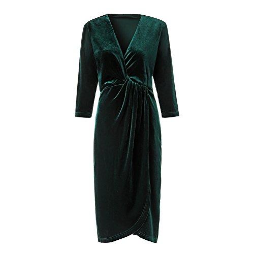 Green Velvet Dress (Women's Velvet Dress V-neck Wrap Medium Sleeve Dresses (Large, Green))