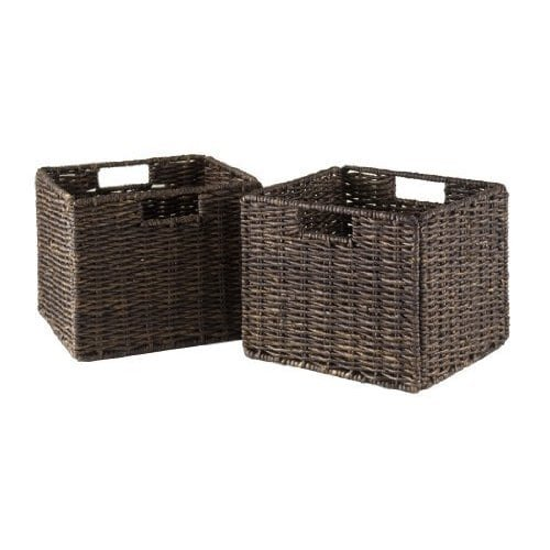 Luxury Home Granville Chocolate Foldable Small Corn Husk Baskets (Set of 2)