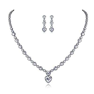 Hot GULICX Clear White Jewelry Set Necklace Earrings Wedding Party Heart CZ Jewelry Silver Tone hot sale