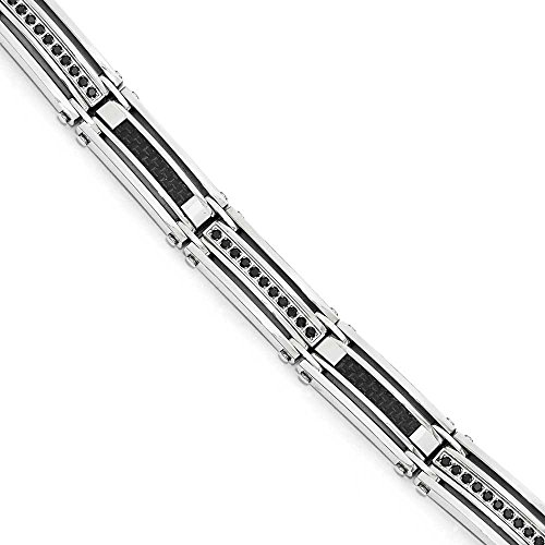 En acier inoxydable poli Noir en Fibre de carbone Noir avec CZ-Bracelet Femme-23cm