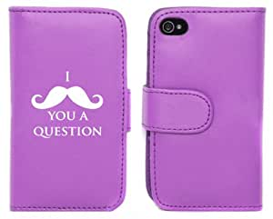Purple Apple iPhone 5 5s 5LP173 Leather Wallet Case Cover I Mustache You A Question