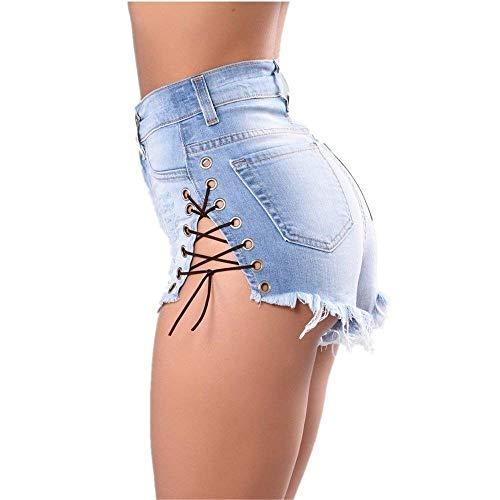 De Corte Metal Calientes Mujeres Mezclilla Agujero Jeans Hebilla Correas Crudos Cortos Cruzadas Slim Pantalones Casuales Verano Azul Nightclub 5qwxAgW1Z