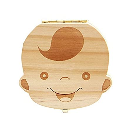 Baby Tooth Box, Wooden Kids Tooth Holder, Teeth Collection with Tweezers, Baby Save Boxes Keepsake for Boy Reachno