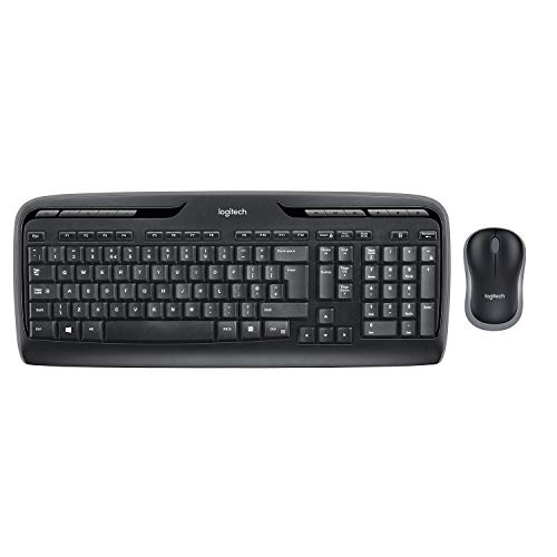 Logitech MK330 Wireless Combo Keyboard and Mouse, USB, Long Battery Life, Compatible with Windows and Chrome OS - QWERTY UK Layout - Black