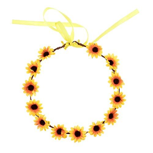 Love Sweety Daisy Flower Headband Boho Floral Crown Wreath for Wedding Festival (Yellow)