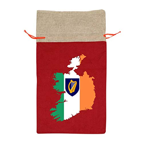 Personalized Santa Sack,Republic of Ireland Map Flag with Coat of Arms Portable Christmas Drawstring Gift Bag 12.5