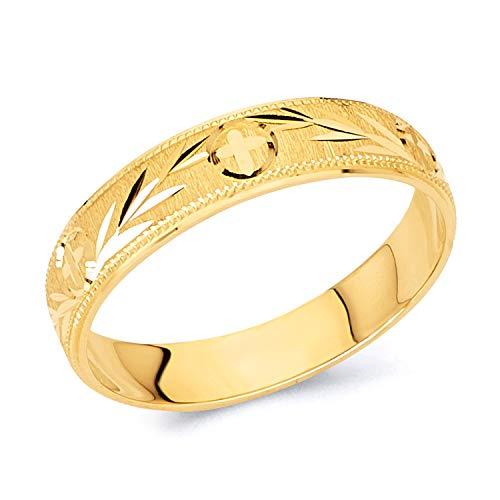 Wellingsale Ladies 14K Yellow Gold Diamond Cut Wedding Ring Band - Size 5.5