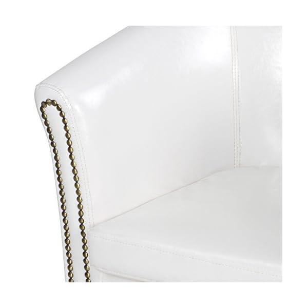 Miadomodo Fauteuil Chesterfield avec Repose-Pied – en Simili Cuir, avec Éléments Décoratifs en Cuivre, Couleur au Choix – Chaise, Cabriolet, Tabouret Pouf, Meuble de Salon (Blanc)