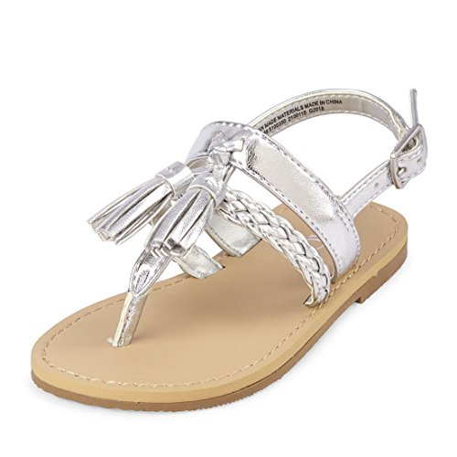 The Children's Place Girls' TG Tassel Candy Sandal, Silver, TDDLR 11 Toddler US Toddler by The Children's Place (Image #1)