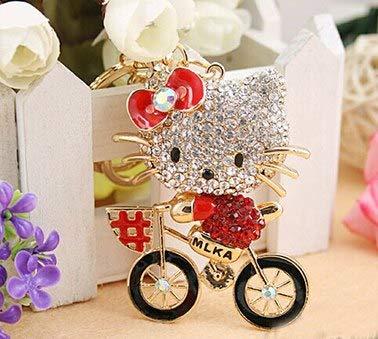 Amazon.com: Bicycle Bow cat Rhinestone Keychain/Korean ...