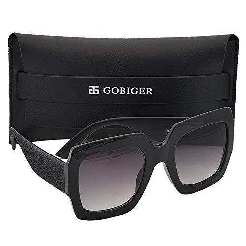 Gobiger Trendy Oversized Women Sunglasses Multi Tinted Square Brand Designer Glasses (Black Frame, Gradient - Square Black Glasses
