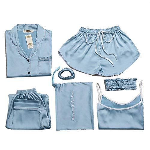 Manga Conjunto Tirantes Unicolor Larga Camisola Clásico Pijama Mujeres Azul Solapa Tops De Casuales Pants Taille Sin Mujer Pijamas Elastische XHBAPX